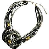 BOCAR Collana multistrato in oro anticato con perline in acquamarina