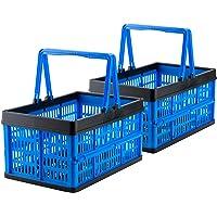 Grizzly kleine Klappbox faltbar mit Henkel, 2er Set, blau, je 16 L, Faltbox nutzbar als klappbarer Einkaufskorb und…