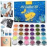 Glitzer Tattoo Set tjej, GLAMADOR kropp Glitzer Make UP, Flash-attoo-kit för fest, DIY, 30 färger, 145 schabloner, 2 lim, 4 p