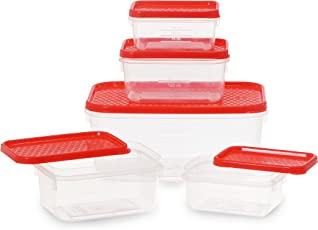 All Time Plastics Polka Container Set, 5-Pieces, Red