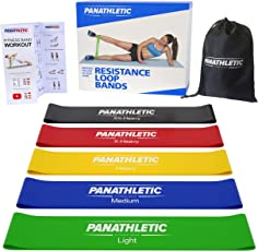 Fitnessbänder / Widerstandsbänder, 5er Set von Panathletic, mit Anleitung, eBook auf Deutsch und Tragebeutel – 5x Fitnessband, Widerstandsband, Gymnastikband, Trainingsband, Übungsband, Fitness Band, Gymnastikbänder, Trainingsbänder, Loop Bänder, Mini Bands, Übungsbänder
