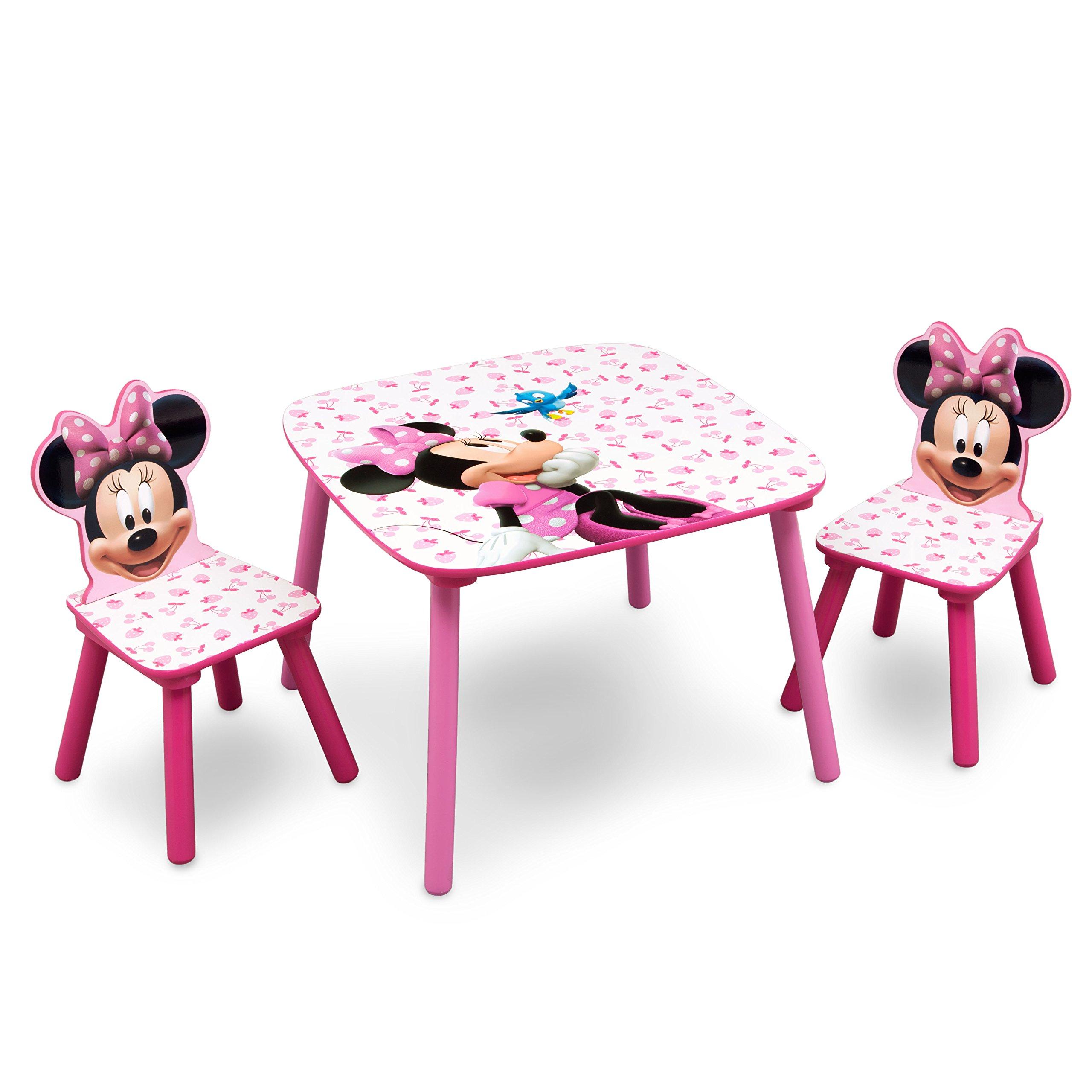 Set Tavolo E Sedie Minnie.Disney Set Tavolo Con 2 Sedie Per Bambini Minnie Mouse Giochi Legno