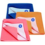 BABY & MOM COMPANY® New Born Combo Waterproof Bed Sheet Coral + Royal Blue + Peach 3 Small Size (50cm X 70cm)