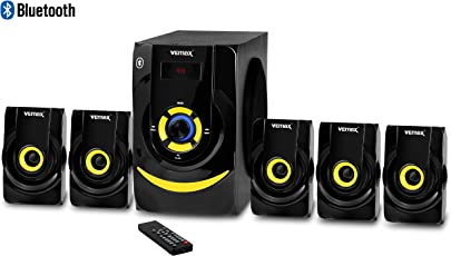 Vemax Heart Beat 5.1 Bluetooth Multimedia Home Theater System 5.25 inch Woofer with FM USB AUX Bass & Treble Control (Black & Yellow)