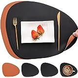 Myir JUN Set de Table en Cuir et Dessous de Verre, PU Set de Table Antidérapant Double Face Set de TableLavable Imperméables