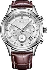 BUREI Men s Stainless Steel Chronograph Sports Watch Stopwatch with Brown Leather