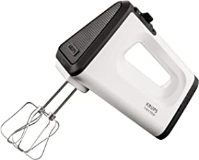 Krups GN5021 Handmixer mit Turbostufe (500 Watt, 3 Mix 5500, Tubo-Quirle und Spriral-Kneter aus edelstahl) weiß/schwarz