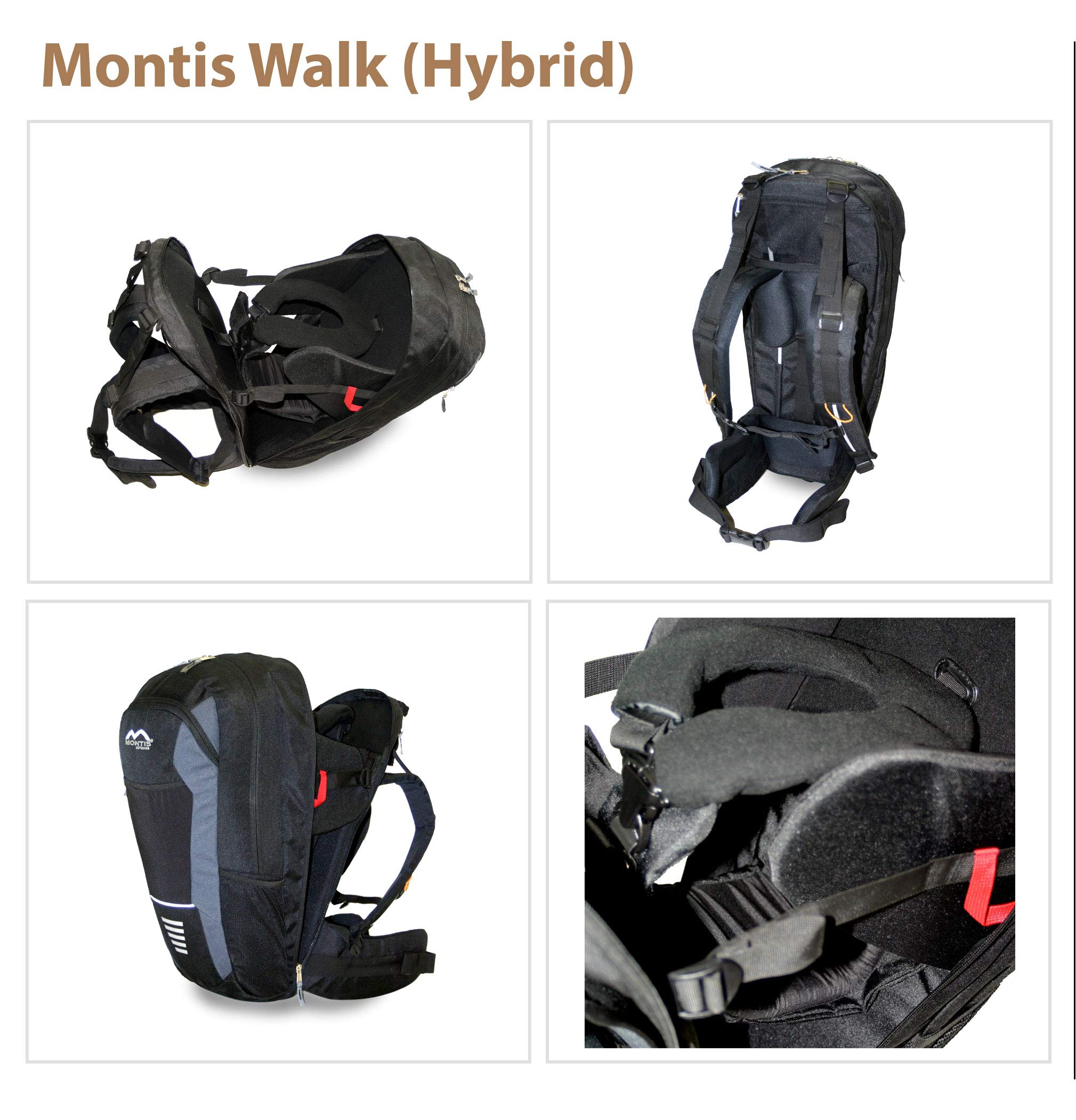 MONTIS WALK, back carrier, child carrier, backpack up to 15kg M MONTIS OUTDOOR 61cm high, 28cm wide; 20 litres; approx. 1850 grams Combination backpack and child carrier, up to 15 kg 3-point safety belt for children 6
