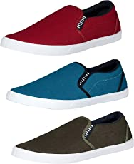 Tempo Men's Combo Pack of 3 Loafers Shoes(723MHNDI/727MHRN/729SKY)