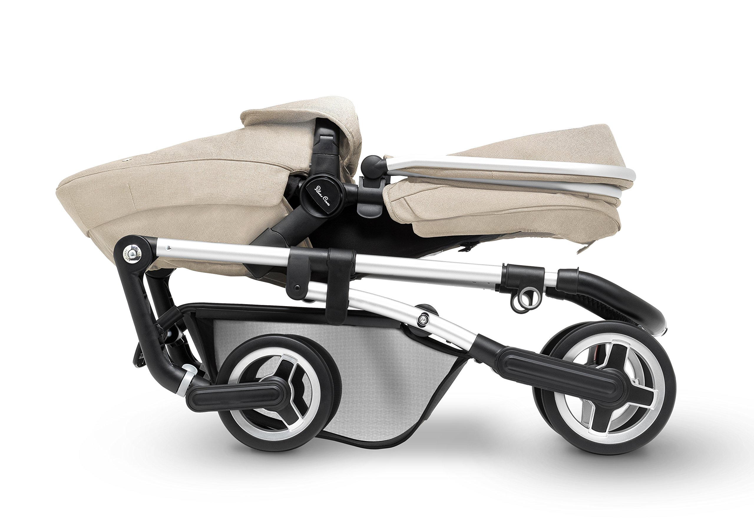 Silver Cross Wayfarer Pushchair and Carrycot, Linen Silver Cross A complete Pram system that includes everything you need from birth to toddler Includes a lie-flat Carrycot for your new born that is suitable for overnight sleeping Includes a fully, reversible Pushchair seat unit, suitable up to 25kg 4