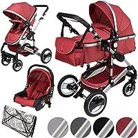 ib style® SOLE 3en 1 poussette combiné | incl. siège auto/nacelle bébé | incl. moustiquaire/habillage pluie | 0-15kg | 4…
