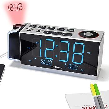 iTOMA Radio-réveil à Projection, Radio FM numérique, Chargeur USB, Alarme  Daul, Snooze, Minuteur, Veilleuse, Prise écouteurs (iRP509) 11f83d0b1aae