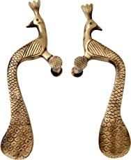 Two Moustaches Peacock Design 10 Inches Brass Door Handle Pair