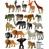 SaleON® 20pc Wildlife Model Children Puzzle Early Education Gift Mini Jungle Animal Toy Set Realistic Animal Figures…