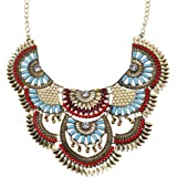Paxuan Womens Antique Silver/Gold Alloy Vintage Colorful Boho Bohemia Turquoise Necklace Ethnic Tribal Beaded Necklace Chunky