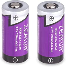 CR123A Lithium Battery [Upgraded] Zeasun 3V PTC Protected Rechargeable 123/123A Li-ion Batteries with Case for Security Camera and Alarm System,700mAh,2 Pack