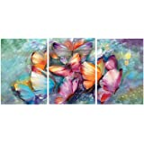 Saumic Craft Set of 3 Butterflies Modern Art Self Adeshive UV Coated 3D Painting for Home Decor and Gifting with A Special Pr