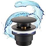 STARBATH PLUS – Desagüe Lavabo – Válvula para Lavabo Clic clac – Fácil instalación –– Elaborada en latón Lacado Color Negro M
