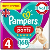 Pampers Size 4 Active Fit Baby Nappy Pants, 168 Count, MONTHLY SAVINGS PACK, Easy-Up Pull On Nappies (9-15 kg / 20-33…