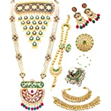 THE OPAL FACTORY Traditional Rajasthani Gold Plated Kundan Dulhan Bridal Jewellery Set with Choker necklace, Earrings, Sheesp