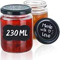 Praknu 25 Marmeladengläser 230 ml mit Deckel und Etiketten - Luftdichte Einmachgläser zum verschenken
