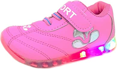 TeeniTiny LED Light Shoes for Kids Boys Girls & Baby (2 Years to 4 Years) Pink Blue Black