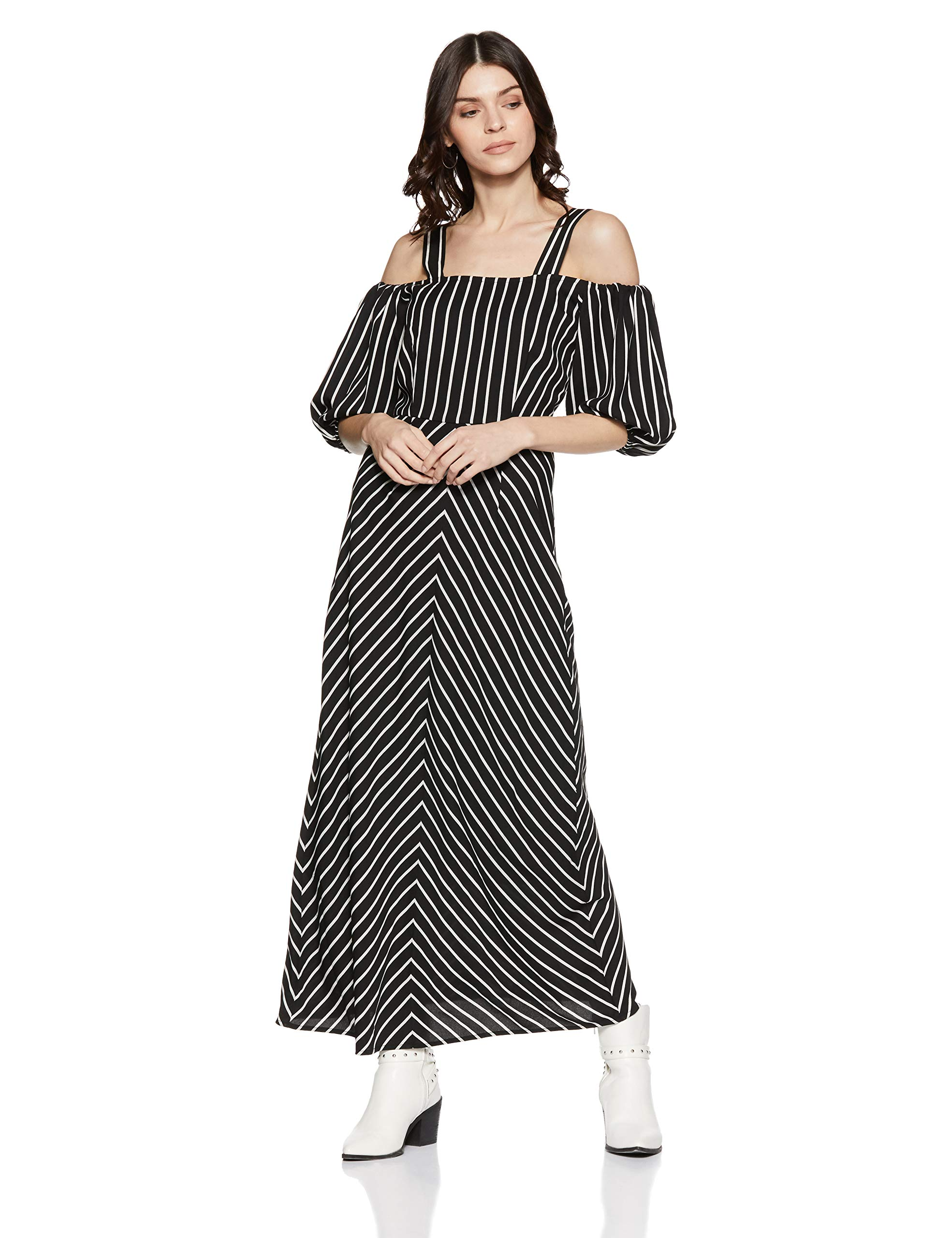 Stalk Buy Love Women's Georgette Striped Grechen Cold Shoulder Maxi Dress