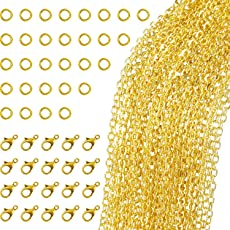 generic 5 metre Gold Plated Link Chain Necklace with 30 Jump Rings and 20 Lobster Clasps for Jewelry DIY Making
