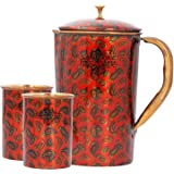 Indian Art Villa Printed Design Copper Jug Pitcher with Glass Set, Serving Water, 3 Pieces