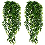 KingYH 2 Pack Artificial Hanging Vines Plants Plastic Fake Trailing Weeping Ivy Vine Greenery Drooping Plant for Wall Indoor
