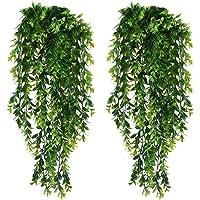 KingYH 2 Pièces Lierre Artificielle Plantes Guirlande Vigne Faux Plastique Feuilles Suspension Plante Vertes Ivy pour…