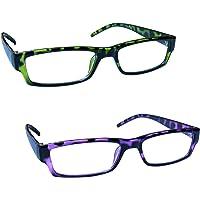 The Reading Glasses Company Verde E Viola Tartaruga Leggero Lettori Valore 2 Pacco Uomo Donna Rr32-65 +2,00 - 58 Gr
