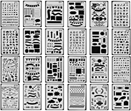 GooKit 24 Packs Plastic Journal Painting Shapes Letter Journaling Set DIY Drawing Template Stencils (White, 4x7 Inches)