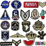 Toppe per Vestiti, 21 PCS Toppa Ricamata Aerospaziale Termoadesiva Toppe da Cucire Applicazioni per Vestiti, Giubbotti, Zaini