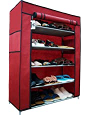 Virtue Shoe Rack Foldable 5 Shelves Organizer with Cover, Metal Frame Plastic Connectors, Home Furniture (Maroon & Grey)