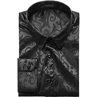 HISDERN Camicia a Maniche Lunghe Paisley Floreale da Uomo Moda Casual Camicie Eleganti Formali Bottoni in Seta…