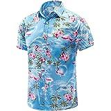 JKLPOLQ Mens Hawaiian Shirt Floral Casual Short Sleeve Summer Shirts Hawaii Beach Print Shirt for Holiday