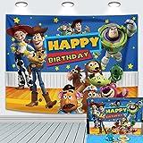 Fondo de fondo de historieta para niños y niños, decoración de tarta de cumpleaños, cielo estrellado, Woody and Buzz, banner