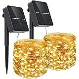 Aerb Guirnalda Luz Exterior Solar, 2 Pack Cadena de Luces 15M 150 LED, Panel Solar de 85X85mm, Impermeable Iluminación Decora