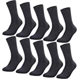 YouShow Calcetines Hombre Mujer Calcetines de Algodón Unisex 5|10 Pares Negro Ejecutivos Confort
