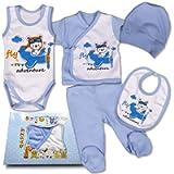 QAR7.3 Completo Vestiti Neonato 0-3 mesi - Set Regalo, Corredino da 5 pezzi: Body, Pigiama, Bavaglino e Cuffietta (Blu…