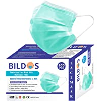 Bildos CE,ISO & GMP Certified Face Mask with Adjustable Nose clip (100 Pcs) 3 Layer Surgical mask Disposable masks with…