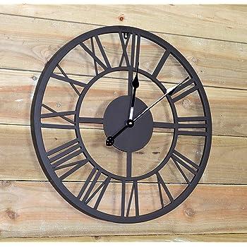 Gardman Giant Roman Numeral Clock, Large, Black Powder Coated Finish
