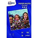 AVERY - 50 feuilles de papier photo 160g/m² brillant, Format A4, Impression jet d'encre,