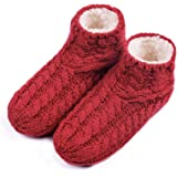EverFoams Ladies' Warm Cable Knit Non Slip Winter Slipper Socks with Fluffy Fleece Lining