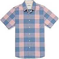 Dubinik - Camicia a Quadri a Maniche Corte da Uomo, Stile Casual, con Bottoni, in Cotone, vestibilità Regolare, con Due…