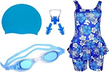 Golden Girl Swimming Kit for Girls (Blue_10-11 Years)