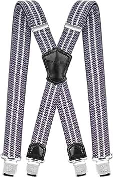 Decalen Bretelle Uomo Donna Unisex larghe 4 centimetri forma a X regolabile ed elastico per i pantaloni molto forti Clip vari colori