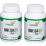 Nveda Omega 3 Supplements (1000 mg Omega 3, with 180 mg EPA & 120 mg DHA) (60 Softgels) Pack of 2