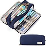 CICIMELON Pencil Case Large Capacity Pencil Pouch 3 Compartments Pencil Bag Gift for Students Girls Adults Women (Navy)